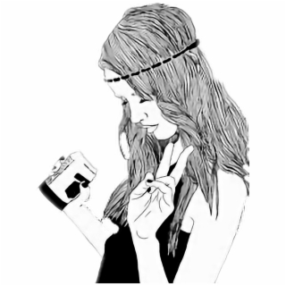 Chicas Tumblr Png Hipster Girl Black And White Drawing 2259373 Vippng