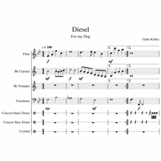 Diesel Sheet Music For Flute Clarinet Trumpet Trombone Sheet Music Transparent Png Download 68326 Vippng